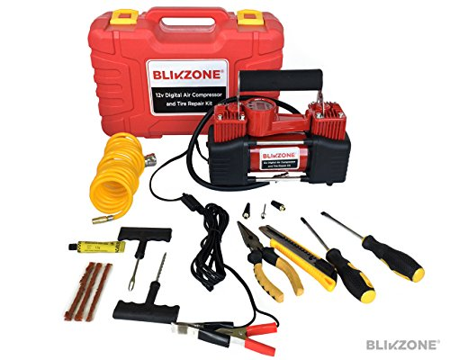 Blikzone 15-Pc Dual-Cylinder Portable Air Compressor/Inflator Kit with Digital LCD Display, Auto Shut-Off, 12V, 120 PSI, 85 LPM with Hard Plastic Case - Include Tire Repair Kit for Cars, Trucks,