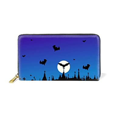 Womens Blue Halloween Leather Wallets Credit Card Cash Holder Large  Capacity Clutch Purse 28342149b