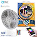 LED Strip Lights WiFi Enabled - Underglow UG80RGBW Smart Ribbon Light Kit by Continu.us | Waterproof, Lightweight Tape Light. Millions of Colors Controlled by Smartphone or Remote. Alexa Compatible