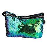 OULII Sports Bag Casual Bag Waist Pack Waist Bag Double Color Sequins Valentines Day gift for women girls (Blue Green + Black)