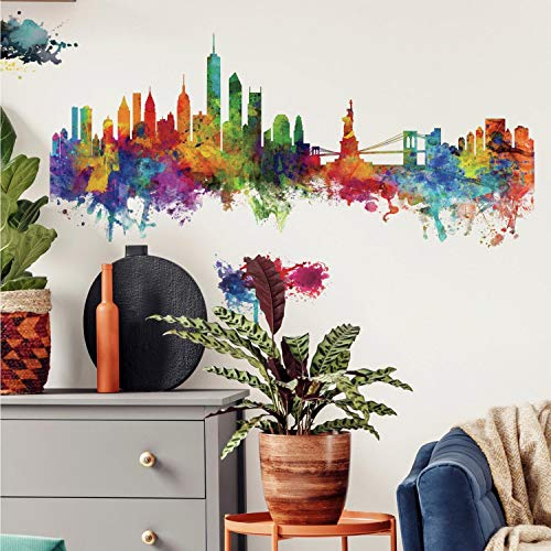 RoomMates Watercolor Skyline Stick Decals