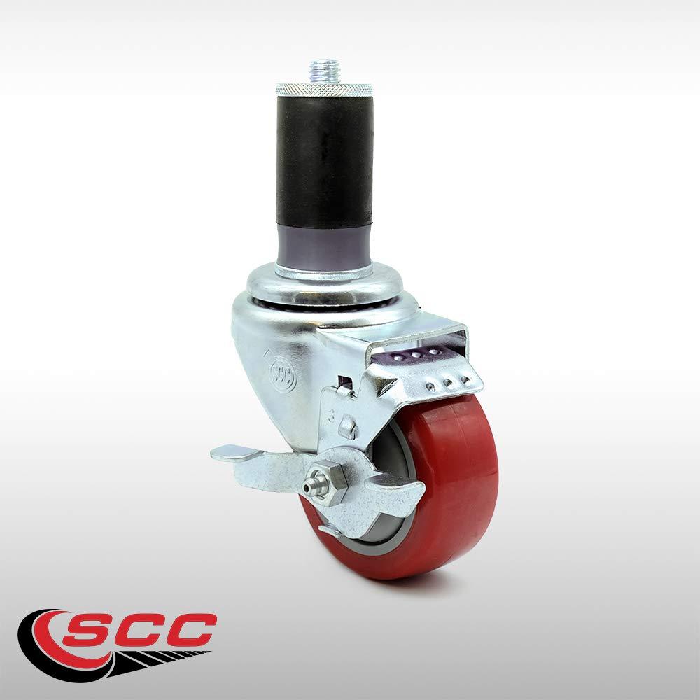 "3/"" x 1.25 Red Polyurethane Wheels Caster Set of 4-2 Swivel Casters w//Brake w//3//4 Expanding Stem//2 Swivel Service Caster"