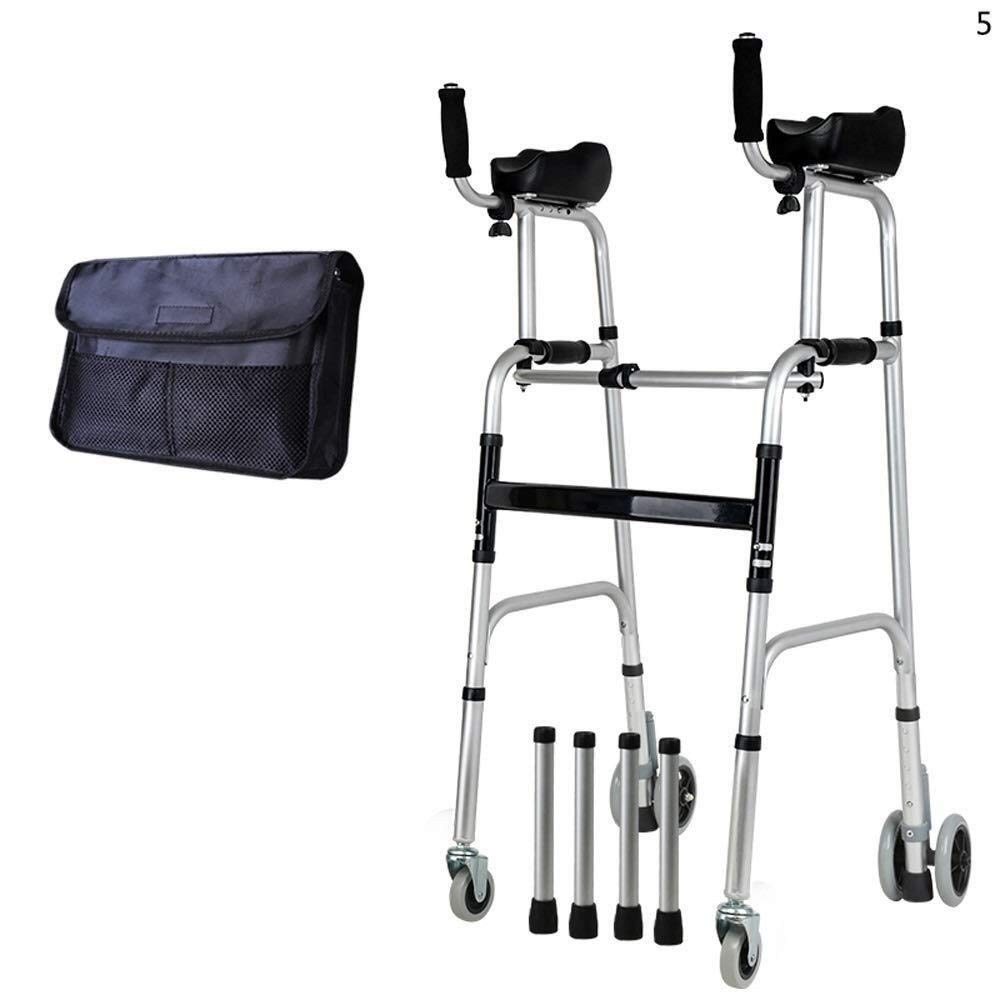 Walking Frame with Wheels Narrow, Portable Bag Lockable Brake Adjustable Height Auxiliary Walking Safety Walker (Color : with Brakes)