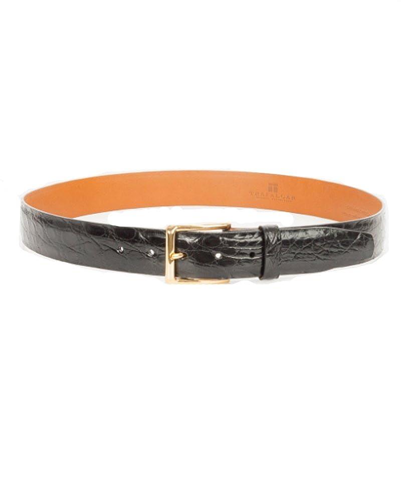 Trafalgar Newington Crocodile Belt in Black