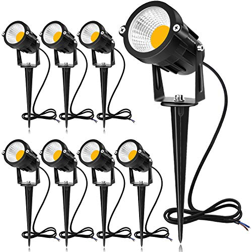SUNVIE 12W LED Landscape Lights Low Voltage (AC/DC 12V) Waterproof Garden Pathway Lights Super Warm White (900LM) Walls Trees Flags Outdoor Spotlights with Spike Stand (8 Pack)