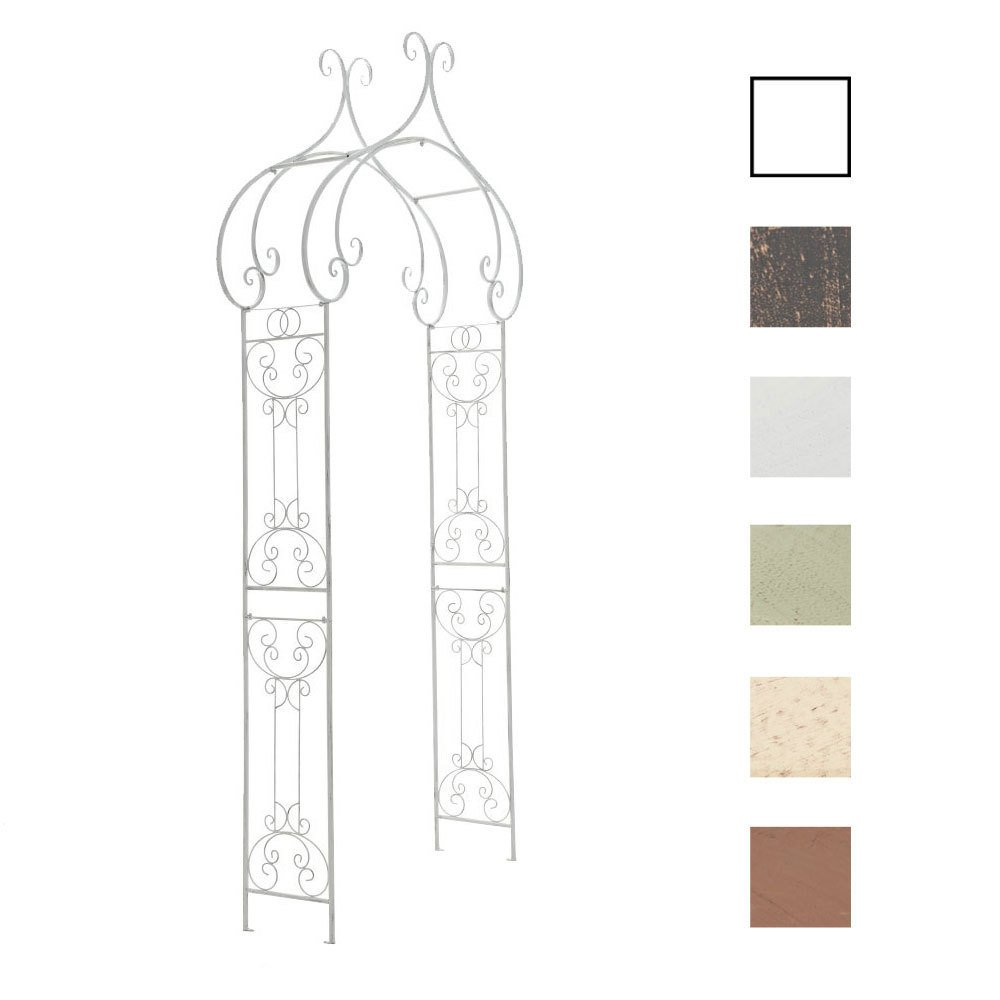 CLP orientalischer Metall-Rosenbogen SAKI, handgefertigt, aus pulverbeschichtetem Eisen (bis zu 5 Farben wählbar) antik-weiß