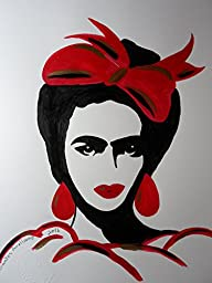 FRIDA KAHLO - RED BOW:: Abstract POP MEXICAN FOLK ART Style - Acrylic Painting on White Paper - SIZE:11\