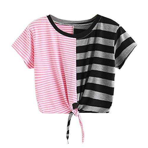 Blouse Short - HGWXX7 Women Summer Casual Print Short Sleeve Crop Blouse Tops Short Paragraph T Shirt (S, Stripe-Pink)