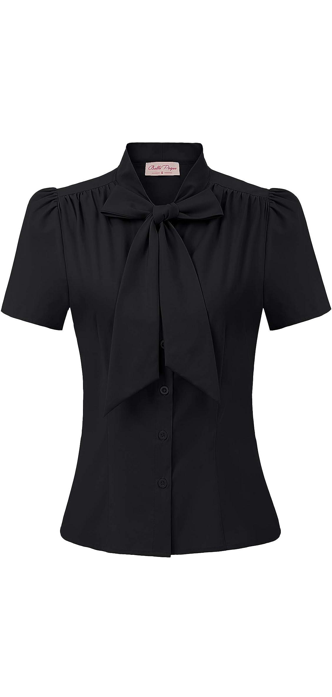 Summer Short Sleeve Office Button Down Blouse Stripe