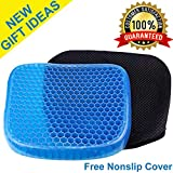 Egg Seat Gel Support Enhanced Cushion Sitter Pad with Washable Cover Back Lumbar