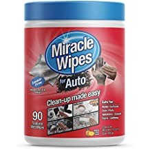 MiracleWipes for Automotive - All Purpose Cleaner, Hands, Interior, Exterior, Detailing - Removes Grease, Lubricants, Sticky Adhesives, Grime, Dirt & More - Car Cleaning Supplies - (90 Count)