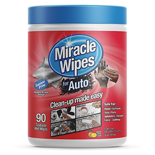MiracleWipes Car Cleaning Supplies Wipes (90-Count) Multi-Purpose Car Interior Cleaner and Detailing | Removes Grease, Lubricants, Sticky Adhesives, Grime | Made in the USA