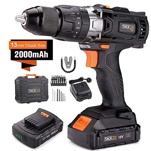 TACKLIFE 18V Cordless Drill Set with Hammer Action, 2pcs 2000mAh Li-Ion...