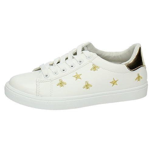 f2f0bc2c DEMAX 7-J105B-12 Bambas Blancas Oro Mujer Deportivos Blanco-Oro 40:  Amazon.es: Zapatos y complementos