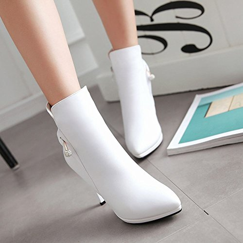 Mee Shoes Damen Stiletto Reißverschluss spitz Stiefel Weiß