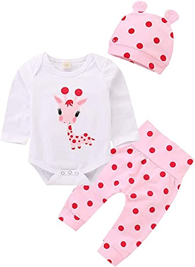 Edjude Baby Girl Romper Sleeve Outifis Bodysuit Jumpsuit Summer Clothes Set for Infant Kids Girl 0-24M
