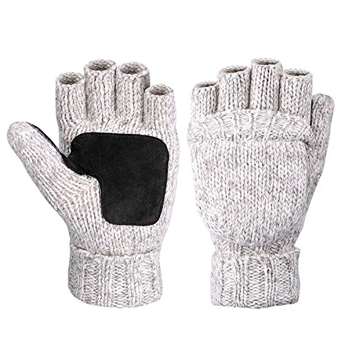 Metog Warm Winter Gloves Wool Mittens Beige