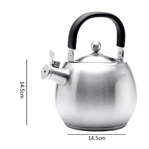 Engrosada 3L importada 304 Caldera de Acero Inoxidable Cocina de Gas Inferior compuesta Silbato Hervidor Botella de Agua UOMUN: Amazon.es