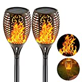 outdoor heat lamp EOYIZW Solar Flame Torches Lights Flickering Dancing Landscape Lanterns Dusk to Dawn Auto On Off 99 LEDs IP65 Waterproof Pathway Garden Yard Walkway Lawn Patio Decorative Outdoor Camping Lamp 2 PCS