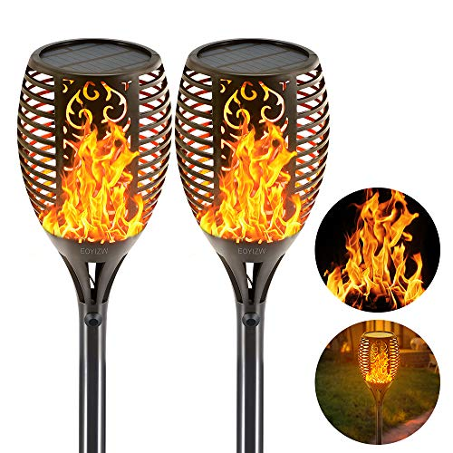 EOYIZW Solar Flame Torches Lights Flickering Dancing Landscape Lanterns Dusk to Dawn Auto On Off 99 LEDs IP65 Waterproof Pathway Garden Yard Walkway Lawn Patio Decorative Outdoor Camping Lamp 2 PCS (Sale For Sculpture Outdoor Metal)