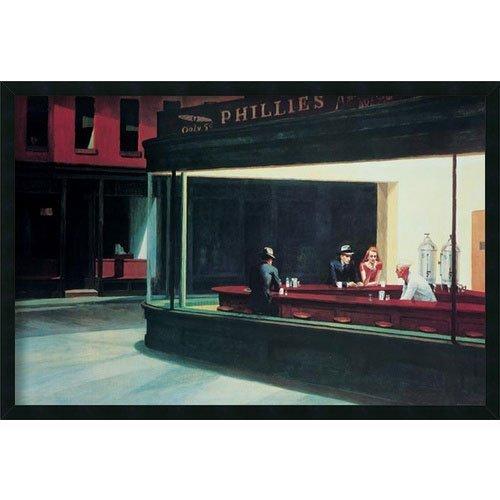 Buyartforless Framed Nighthawks 1942 by Edward Hopper 36x24 Museum Art Print Poster Famous (Nighthawks 1942 Edward Hopper)