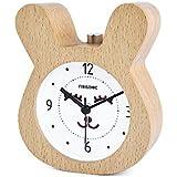 目覚まし時計 FIBISONIC アナログ 大音量 置き時計 連続秒針 音無し アラーム スヌーズ 照明ライト付き 木製 電池式 小型 かわいい キャラクター S712(ナチュラル・ウサギ)