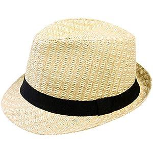 Simplicity Unisex Summer Cool Woven Straw Fedora Hat & Stylish Hat Band