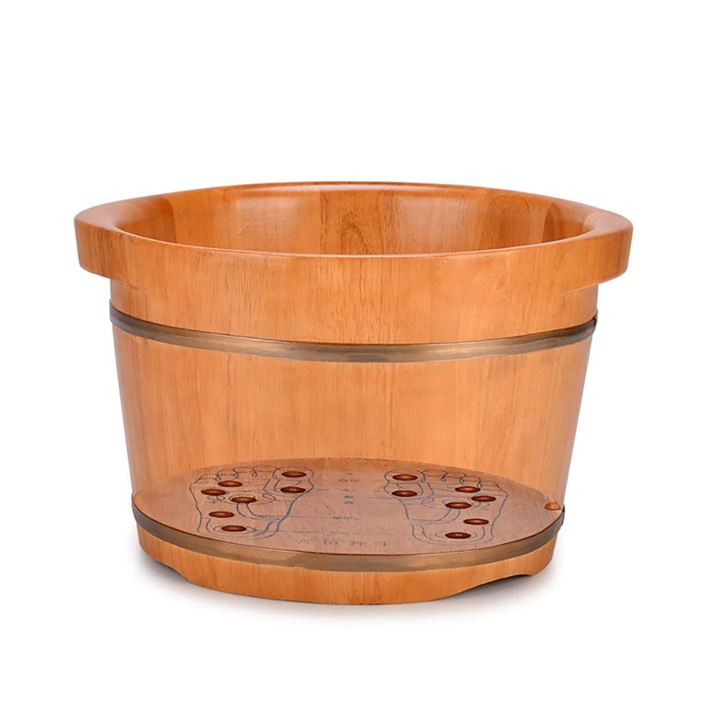NUBAOgy オークフットバス浴槽、木製フット盆地、ペディキュア盆地、家庭用フット浴槽、ソリッドウッド製フット浴槽、マッサージペディキュアバケット、ふたの高さを上げる、36 * 25 * 30 cm (色 : B) B07NZBY37H A  A