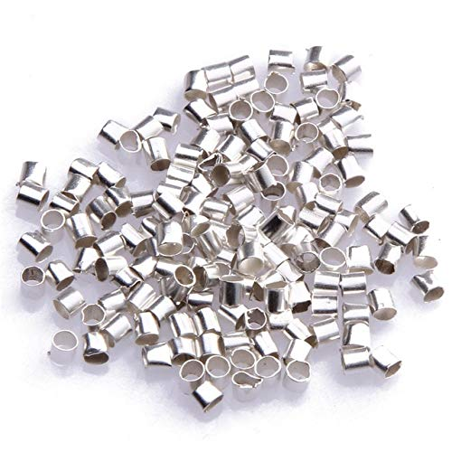 Calvas 500/1000pcs Metal Tube Crimp End Beads Findings Silver Wholesale 2mm for Jewelry Making - (Color: Silver Plated1000pcs)