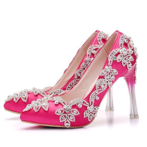 Fine Silk Cloth with Rose Crystal Wedding Platform Rhinestone Shoes Women's LEIT Pointed Shoes Satin Red Waterproof tRvgT