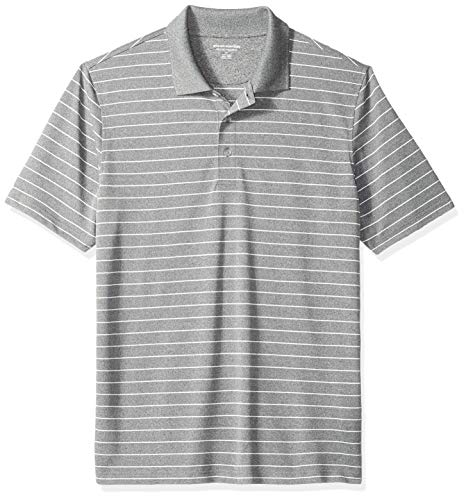 Amazon Essentials Men's Regular-Fit Quick-Dry Golf Polo Shirt, Medium Grey Heather Stripe, X-Small