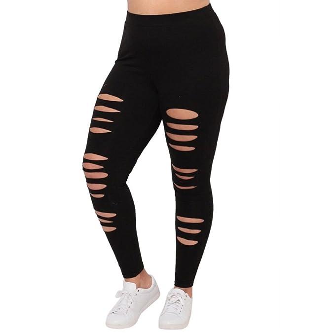 Pantalones mujer rotos Lanskirt Leggings Mujer Push Up Moda tallas grandes Leggins sexy Pantalon de Yoga Agujero deportivo casuales Color sólido ...