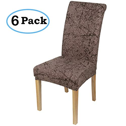 misaya Stretch Dining Room Chair Cover Spandex Removable Washable Floral Printing Chair Slipcover for Kitchen, Set of 6, Style ()