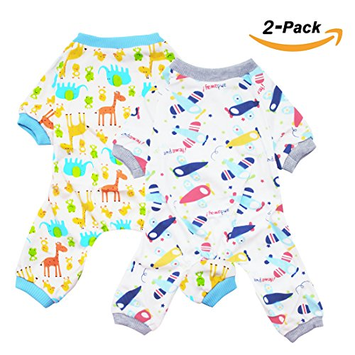 Scheppend 2-pack Dogs Cats Onesie Pajamas Cotton Puppy Rompers Pet Jumpsuits Cozy Bodysuits, Plane & Giraffe XS