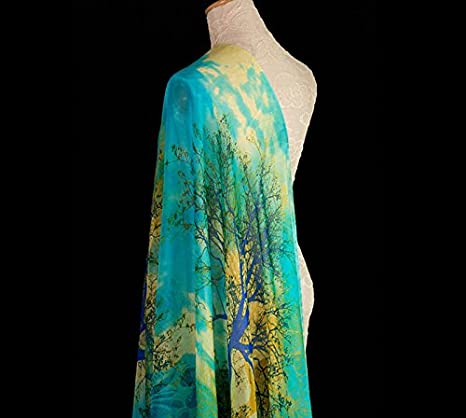 100/% SILK CHIFFON FABRIC WITH BLUE TREES PRINT BY THE METER S052