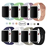 Isenxi Bands Compatible with Watch Sport Band 38mm,8 Pack Soft Silicone Sport Wrist Strap Band Replacement Wristbands Compatible with Apple Watch Series 1 Series 2 Series 3 (38mm-8pack-S/M(01))