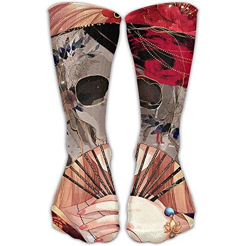YUANSHAN Socks Sexy Skull Girl with Fan Women & Men Socks Soccer Sock Sport Tube Stockings Length -