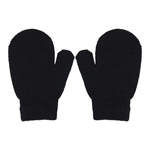 Toddler Unisex Baby Girl Boy Solid Color Warm Knit Gloves Magic Stretch Mittens Winter (1-4 Years, Black)