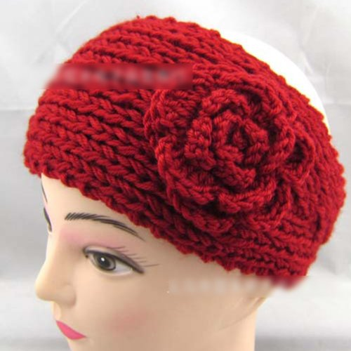 HuntGold Lady Women Fashion Camellia Warm Soft Wool Crochet Headband Knit Wide Hair Band(red)