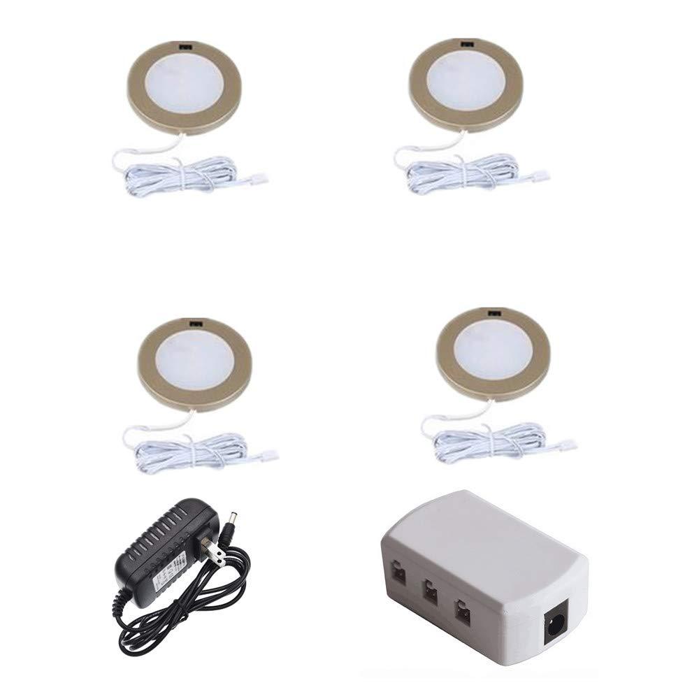 3W Intelligent Induction Cabinet Light kit-Aluminum Puck Lights 120° Beam Angle 300lm 6000K White CRI>80 12V Total 12W LED Spotlight for Kitchen Closet Bookshelf Shelf Gold - White Pack 4