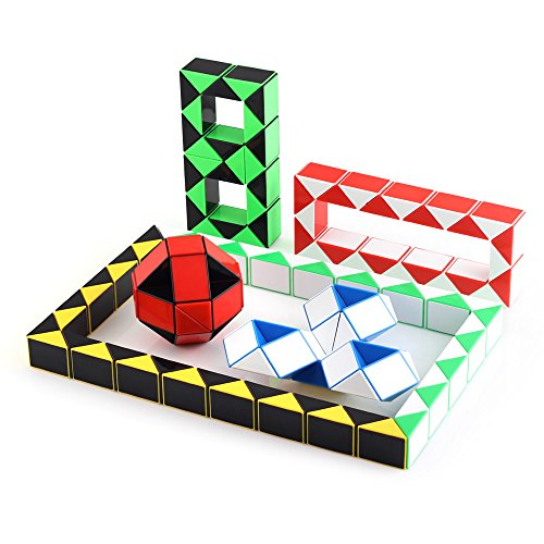 Speed Cube Snake Ruler Twisty Fidget Cube Puzzle Pack Stickerless Magic Snake Game Toys Collection Brain Teaser for Kids (24 Parts 6PCS) by Ganowo (Image #2)