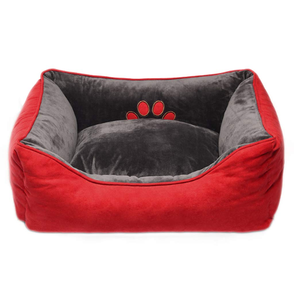 Red L(30 kg inside pet) Red L(30 kg inside pet) Soft Pet Nest Four Seasons Universal Removable And Washable Rectangular Double-sided Usable Small Medium Velvet Cat Kennel Villa Warm Mat 3 color Optional HAODAMAI