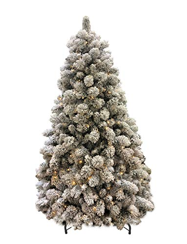 AMERIQUE 691322311365 8 Feet Premium Heavily Flocked Artificial Full Body Shape Christmas Tree with Metal Stand, Hinged Construction, Authentic Look and Feel, 8', Unlit Snowy