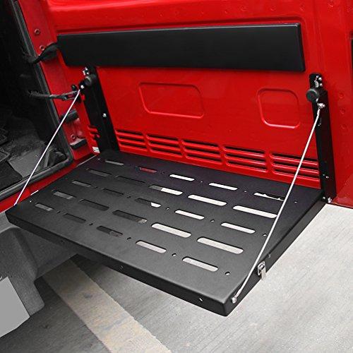 SUNPIE Metal Rear Door Tailgate Utility Cargo Shelf Storage Rack For 2007-2017 Jeep Wrangler JK Fold-Up