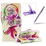 Wallet Case for Huawei P10,Bookstyle Strap Portable PU Leather Flip Smart Cover for Huawei P10,Herzzer Fashion Premium [Campanula Feather Pattern] Magnetic Holster Card Holder Stand Leather Protective Mobile Skin with Soft Inner for Huawei P10 + 1 x Free Purple Cellphone Kickstand + 1 x Free Purple Stylus Pen
