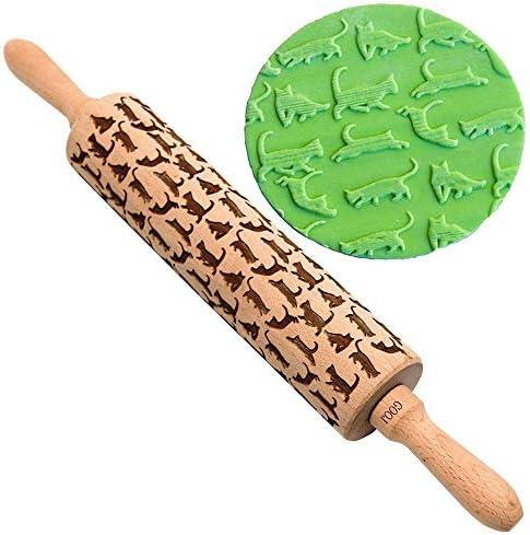 麺棒 かわいい猫柄の木製のエンボス麺棒刻まローラービスケットクッキーベーキングツール パン うどん 餃子など適用 (Color : Wood, Size : One size)