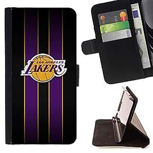 BullDog Case - FOR/Sony Xperia Z1 Compact D5503 / - / Los Angeles Laker Basketball /- Monedero de cuero de la PU Llevar cubierta de la caja con el ID Credit Card Slots Flip funda de cuer