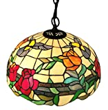 Amora Lighting AM227HL16 Tiffany Style Flora Hummingbirds Hanging Lamp 16 In Wide