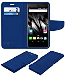 Acm Mobile Leather Flip Flap Wallet Case for Micromax Canvas Evok E483 Mobile Cover Blue