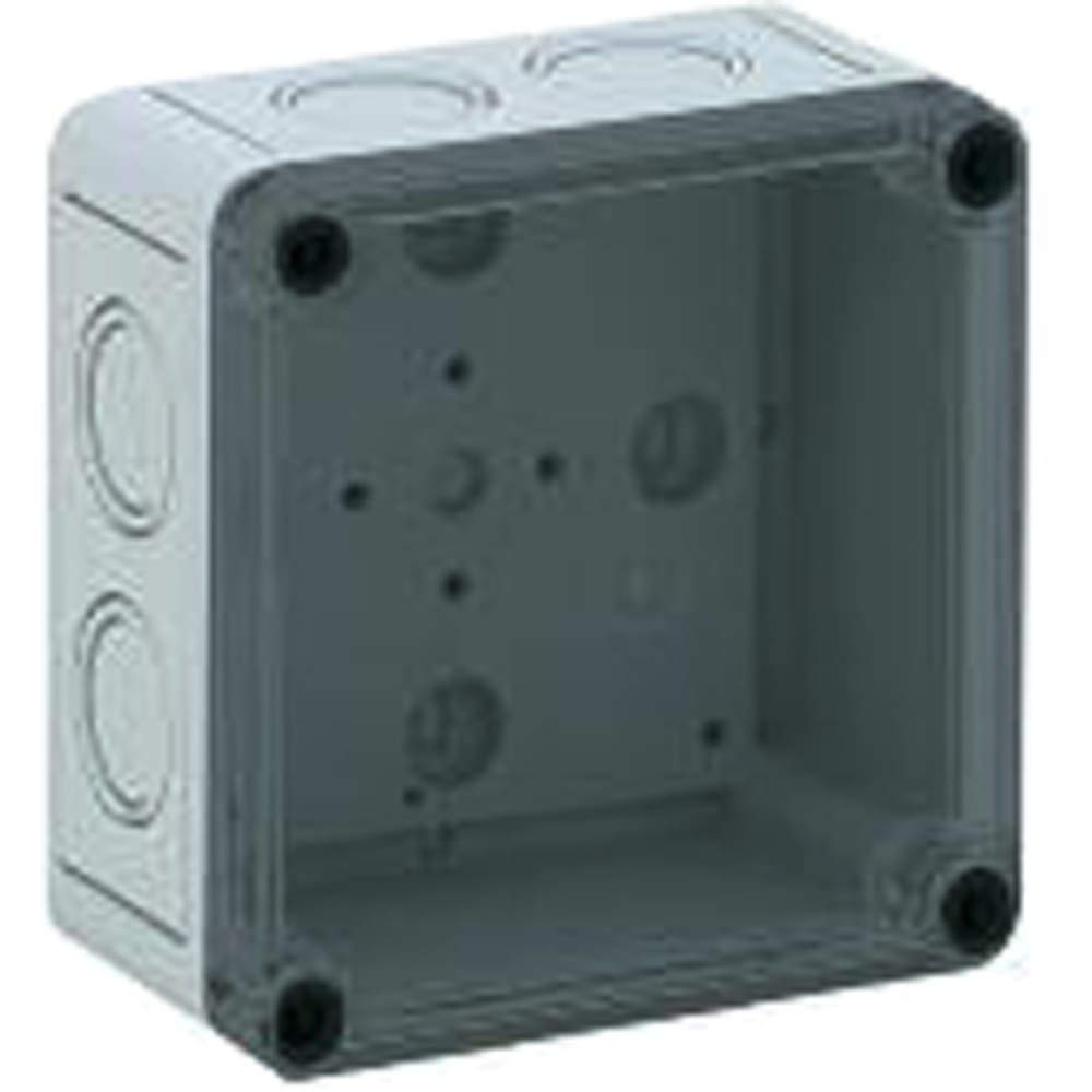 Junction Box:Polycarbonate; Gray; 4.33x4.33x3.54 in; IP66; NEMA4X; ClearCoverTKSeries - Pack of 3